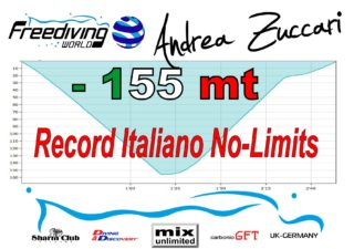 Andrea Zuccari reached  155 metres and breaks Italian National Record freediving  news freediving
